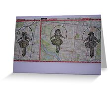 Three Skipping Girls Greeting Card