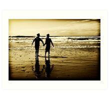 Louis and Holly at the beach... Art Print