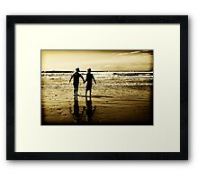Louis and Holly at the beach... Framed Print