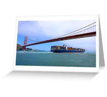 Commerce.- Cargo ship under the Golden Gate Bridge, San Francisco, California Greeting Card