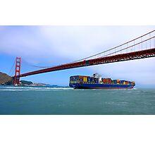 Commerce.- Cargo ship under the Golden Gate Bridge, San Francisco, California Photographic Print