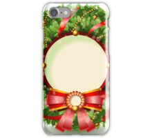 Wreath Christmas with Red Ribbon iPhone Case/Skin