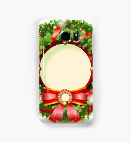 Wreath Christmas with Red Ribbon Samsung Galaxy Case/Skin
