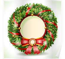 Wreath Christmas with Red Ribbon Poster