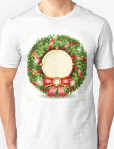 Wreath Christmas with Red Ribbon Unisex T-Shirt