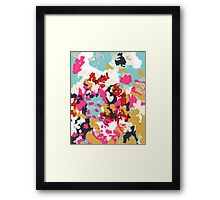 Inez - Modern abstract painting in bold colors for feminine gift ideas and trendy modern home decor Framed Print