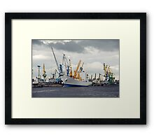 ship and cranes Framed Print
