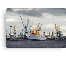 ship and cranes Canvas Print