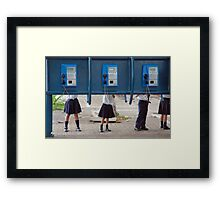 Communication! - School children play with public phone in Costa Rica Framed Print