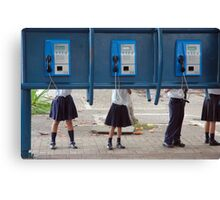 Communication! - School children play with public phone in Costa Rica Canvas Print