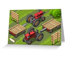 Isometric Red Farm Tractor in Two Positions Greeting Card