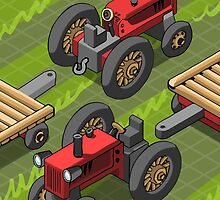Isometric Red Farm Tractor in Two Positions by aurielaki