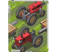 Isometric Red Farm Tractor in Two Positions iPad Case/Skin