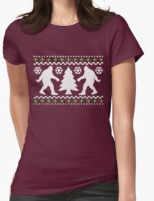 Ugly Holiday Bigfoot Christmas Sweater Womens Fitted T-Shirt