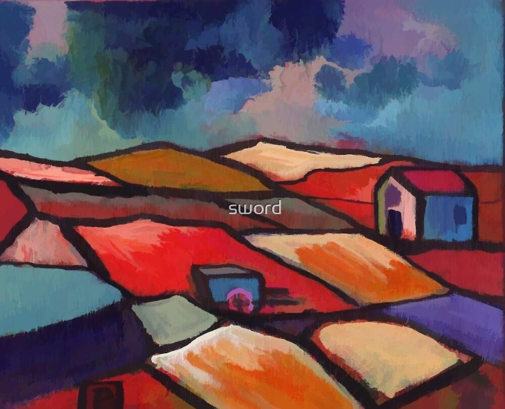 Impressionist landscape  (from my original acrylic) digitally enhanced) by sword