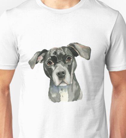 Black Pit Bull Dog Watercolor Portrait Unisex T-Shirt
