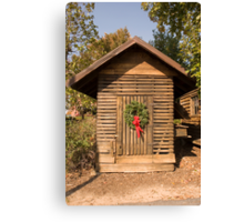Christmas Wreath on Old Shack Canvas Print