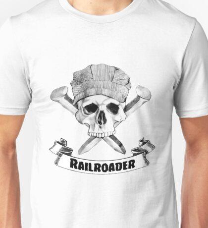 Railroader Skull and Spikes Crossbones Unisex T-Shirt