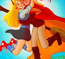 Ginny and Luna hug by nisiedraws