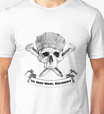 Die Hard Model Railroader Skull and Spikes Crossbones Unisex T-Shirt
