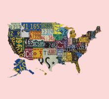 USA vintage license plates map One Piece - Short Sleeve