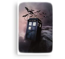 Flying Blue Box In Space Hoodie / T-shirt Canvas Print