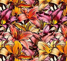 Daylily Drama - a floral illustration pattern by micklyn
