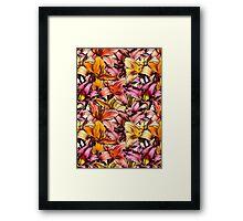 Daylily Drama - a floral illustration pattern Framed Print