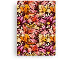 Daylily Drama - a floral illustration pattern Canvas Print