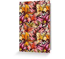 Daylily Drama - a floral illustration pattern Greeting Card