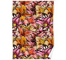 Daylily Drama - a floral illustration pattern Poster