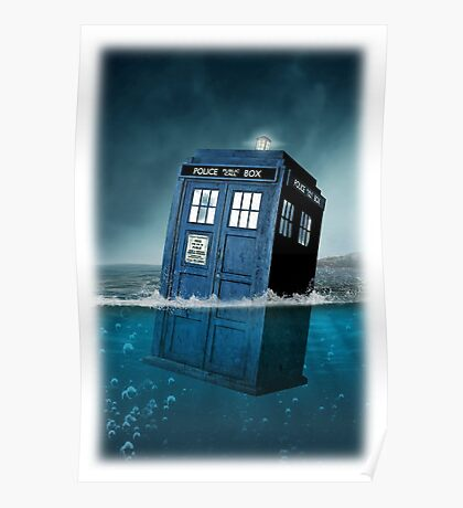 Blue Box in Water Hoodie / T-shirt Poster