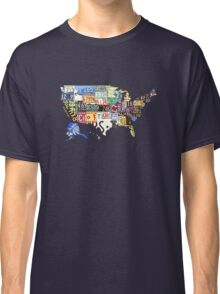 USA vintage license plates map Classic T-Shirt