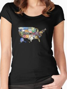 USA vintage license plates map Women's Fitted Scoop T-Shirt