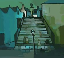 The steps ( from my original acrylic painting digitally enhanced) by sword