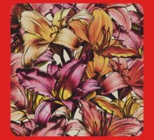 Daylily Drama - a floral illustration pattern Kids Clothes