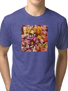 Daylily Drama - a floral illustration pattern Tri-blend T-Shirt