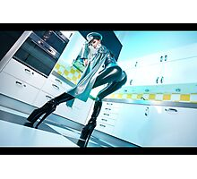 Latex villain in the kitchen Photographic Print