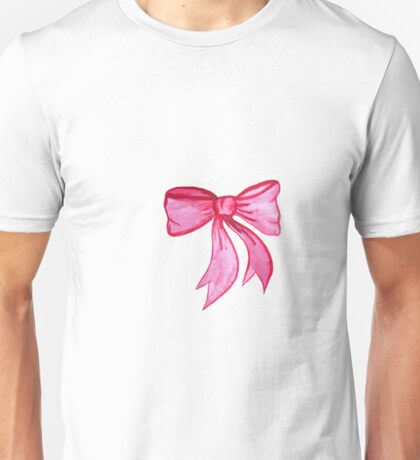 Pink Watercolor Bow Unisex T-Shirt