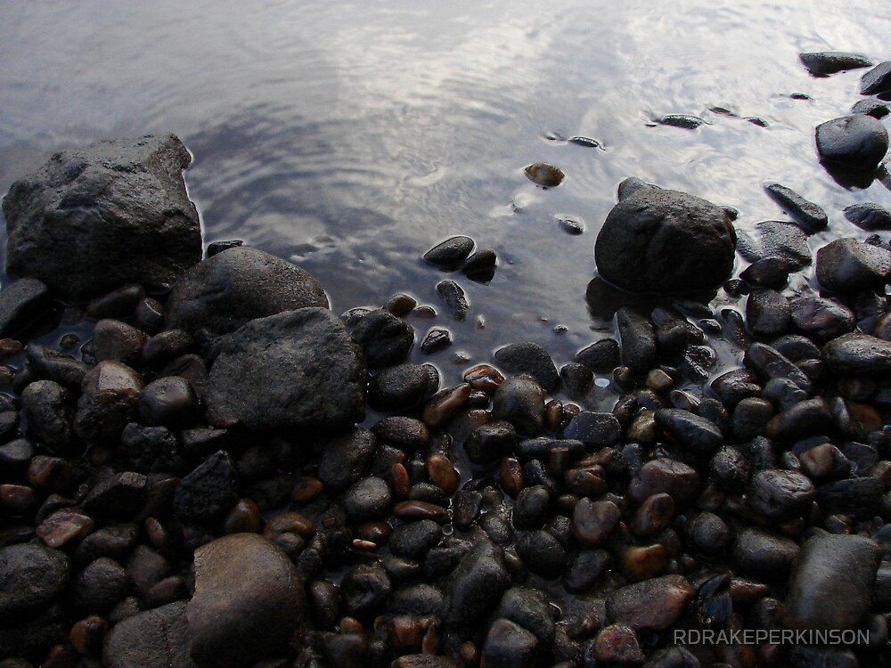 RIVER STONES MORNING LIT by RDRAKEPERKINSON