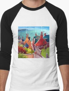 Sea houses. Gardenstown. Men's Baseball ¾ T-Shirt