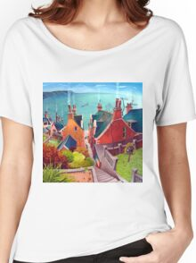 Sea houses. Gardenstown. Women's Relaxed Fit T-Shirt