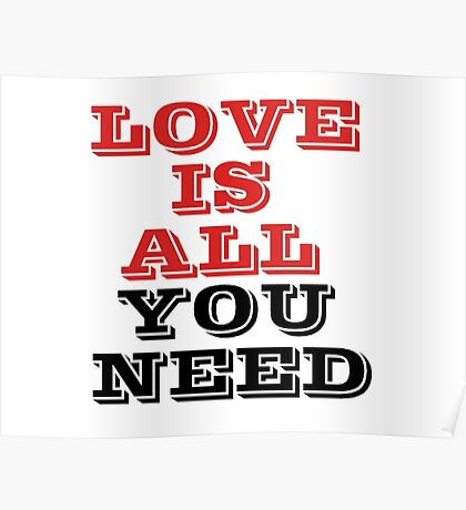 The Beatles Song Lyrics Famous All You Need Is Love Peace Rock Music Poster