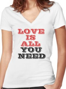The Beatles Song Lyrics Famous All You Need Is Love Peace Rock Music Women's Fitted V-Neck T-Shirt