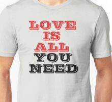 The Beatles Song Lyrics Famous All You Need Is Love Peace Rock Music Unisex T-Shirt