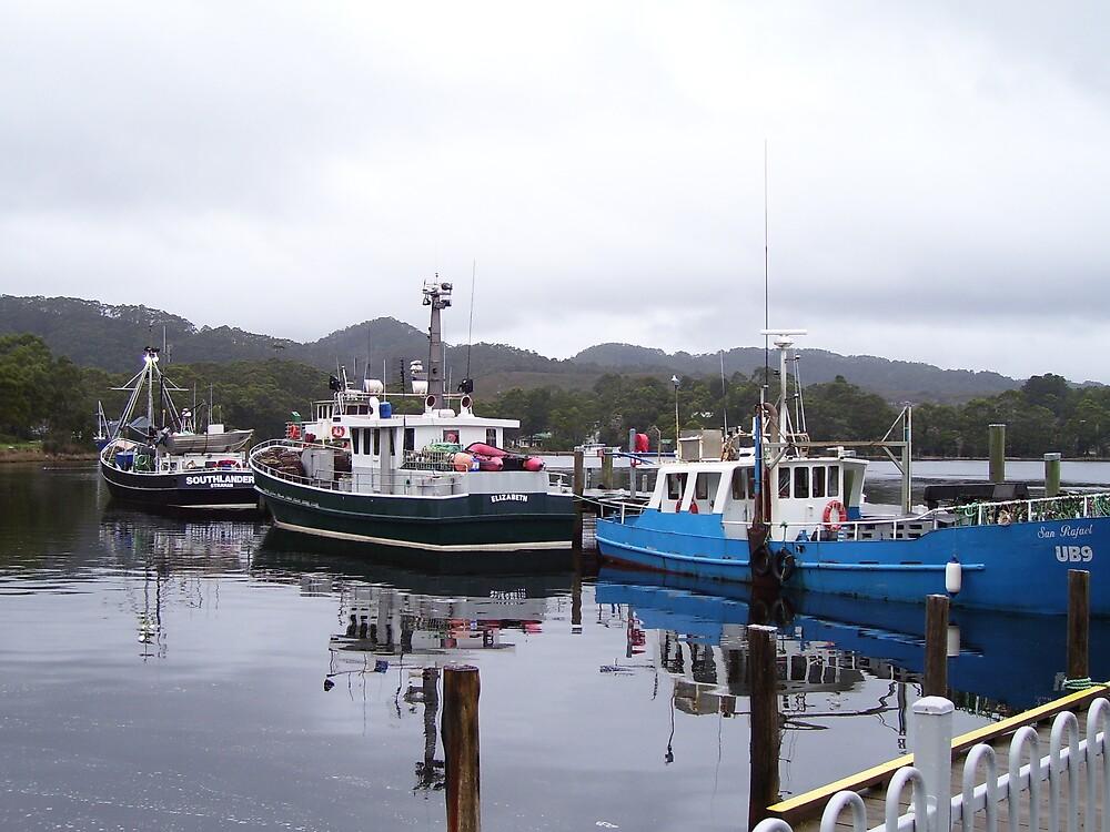 oily looking water at Strahan docks, Tasmania by gaylene