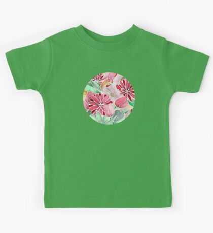 Blossoming - a hand drawn floral pattern Kids Tee