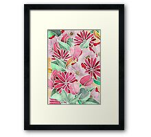 Blossoming - a hand drawn floral pattern Framed Print