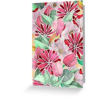 Blossoming - a hand drawn floral pattern Greeting Card