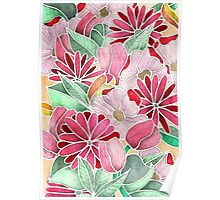 Blossoming - a hand drawn floral pattern Poster